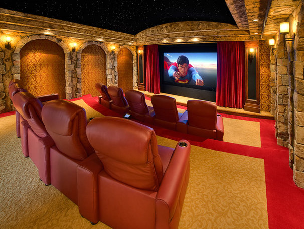 Mediterranean Home Theater by CinemaTech Theater Seating, Design & Acoustics