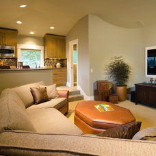 Contemporary Home Theater by Pahlisch Homes, Inc.