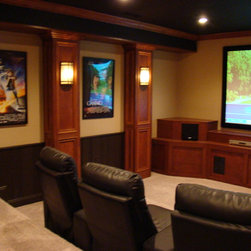 Traditional Cincinnati Tray Ceiling Home Theater Design