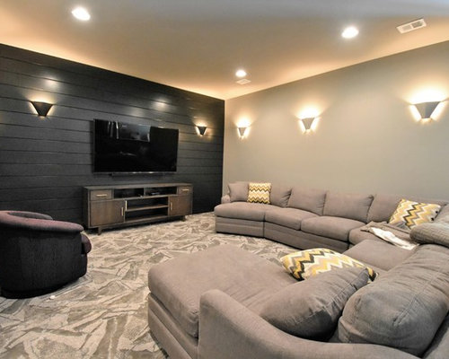 Marlo Furniture Reviews 78 Home Theater with a Wall-Mounted TV and Black Walls Design Ideas ...