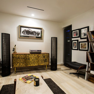 Mid-sized midcentury home theatre in San Diego with white walls, ceramic floors and beige floor.