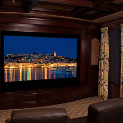 mediterranean media room by Perrone Construction