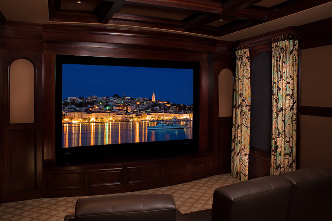 Mediterranean Home Theater by Perrone Construction