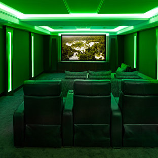 Design ideas for a traditional home theatre in Edmonton.