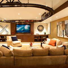 contemporary media room by KKC Fine Homes