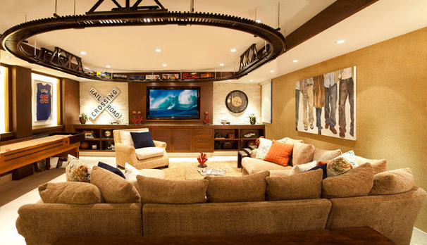 Traditional Home Theater by KKC Fine Homes