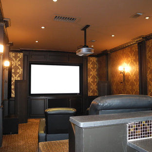 Home theater - tropical home theater idea in Houston