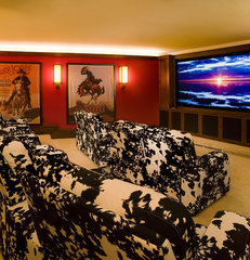 eclectic media room by Billy Beson Company