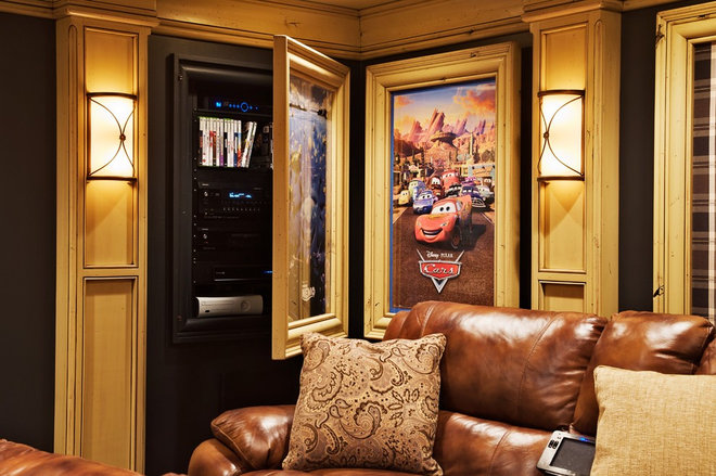 traditional media room by Dan Waibel Designer Builder