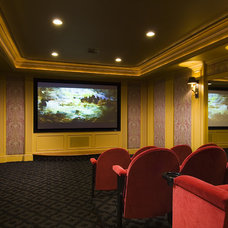 Traditional Home Theater by Sara Hopkins