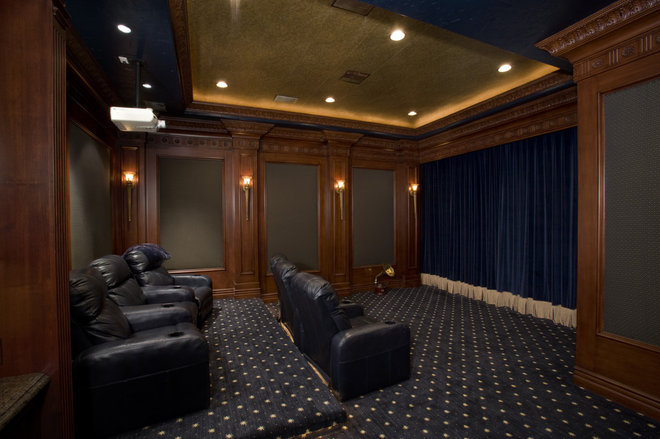 Mediterranean Home Theater by Macaluso Designs, Inc.
