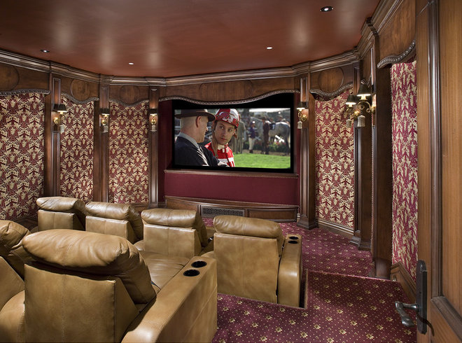 Traditional Home Theater by Bess Jones Interiors