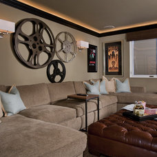 Modern Home Theater by Venture One Design, Inc.
