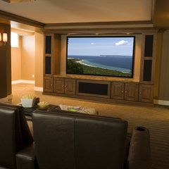 traditional media room by Shane D. Inman