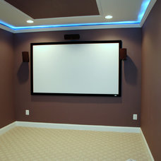 Contemporary Home Theater by Redwood Construction