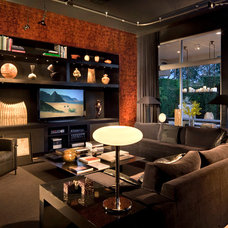 Eclectic Home Theater by Tomas Frenes Design Studio