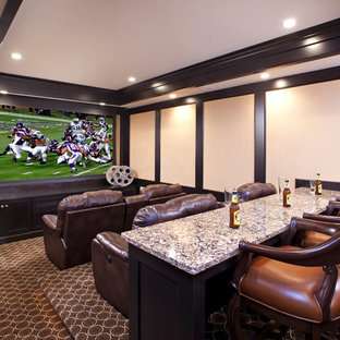 Design ideas for a traditional enclosed home theatre in Minneapolis with carpet and a projector screen.