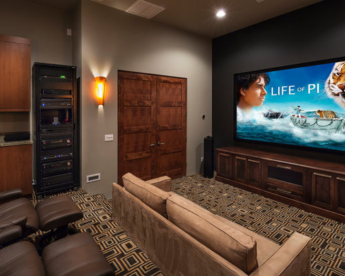 Inspiration For A Contemporary Multicolored Floor Home Theater Remodel In Phoenix With Projector Screen