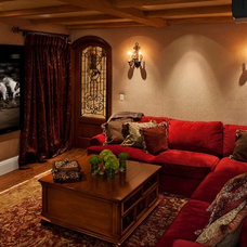 Mediterranean Home Theater by Pritzkat & Johnson Architects