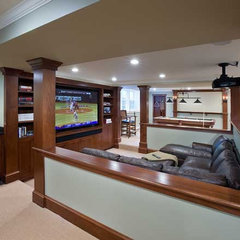traditional media room by Charles River Wine Cellars