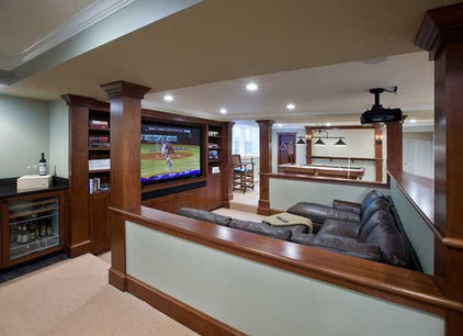 Traditional Home Theater by Charles River Wine Cellars