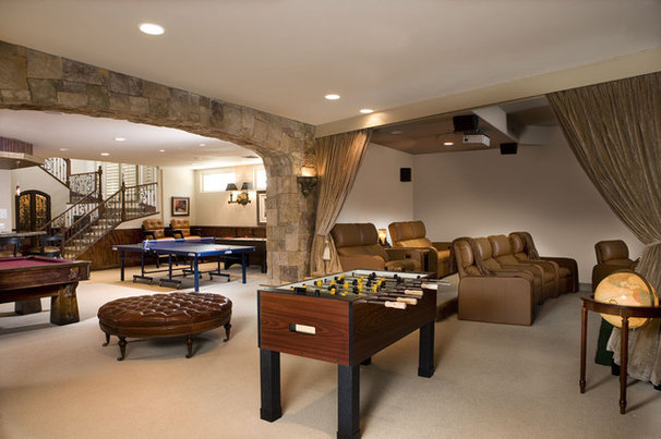 Traditional Home Theater by Concierge Design & Project Management, LLC