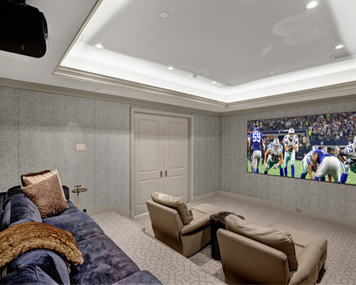 home media room designs. Home theater  traditional enclosed carpeted and beige floor home idea in Dallas with gray Our 50 Best Theater Ideas Remodeling Photos Houzz