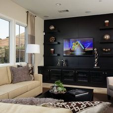 Traditional Home Theater by Precision Cabinets