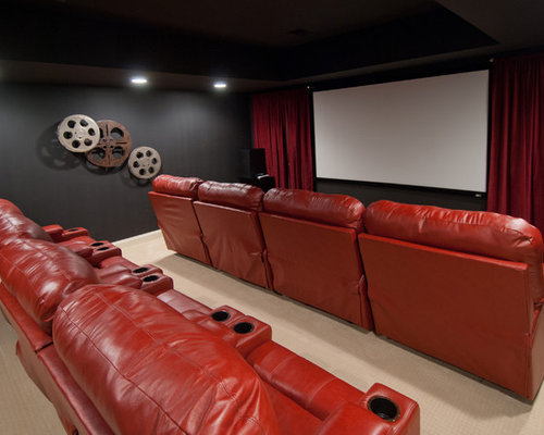 Traditional Home Theater Idea In Other With Black Walls