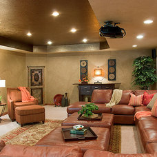 Traditional Home Theater by Suzan J Designs - Decorating Den Interiors