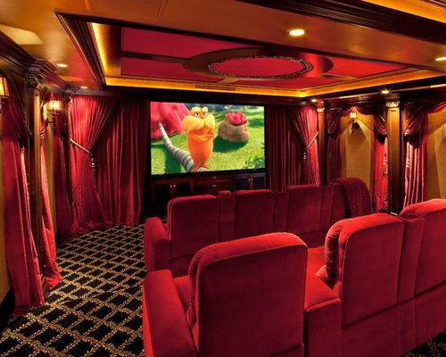 Home Theater   Traditional Carpeted Home Theater Idea In Los Angeles