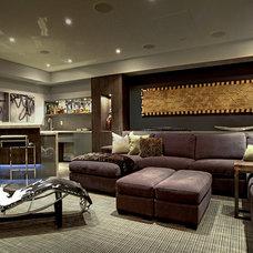 Contemporary Home Theater by Robinson Interior Design