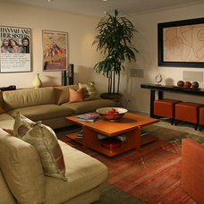 Transitional Home Theater by Cynthia Bennett & Associates