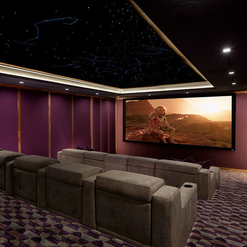 Example Of A Transitional Enclosed Carpeted And Multicolored Floor Home  Theater Design In New York With