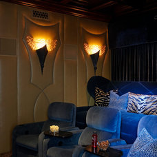 Mediterranean Home Theater by Wendy Black Rodgers Interiors
