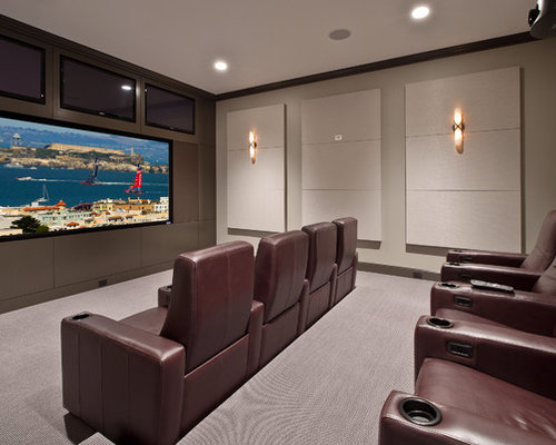 Charming Transitional Home Theater Photo In Seattle With A Projector Screen And Gray  Floors