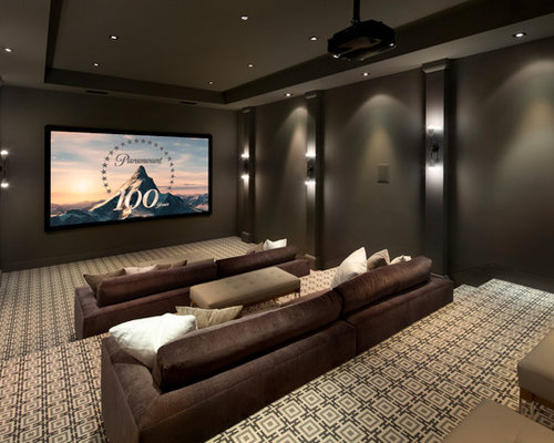 Inspiration For A Modern Carpeted And Beige Floor Home Theater Remodel In  San Francisco With Gray