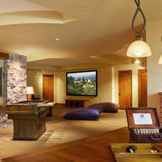 Mediterranean Home Theater by Deep River Partners