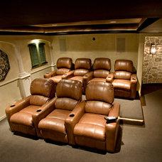 Mediterranean Home Theater by Stone+Glidden, Inc