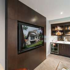 Transitional Home Theater by Old World Kitchens & Custom Cabinets