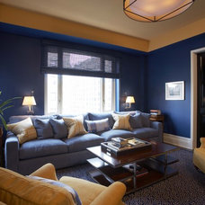 Transitional Home Theater by Willey Design LLC