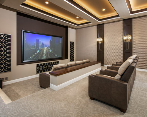 Top Open Concept Home Theater With A Projector Screen Ideas