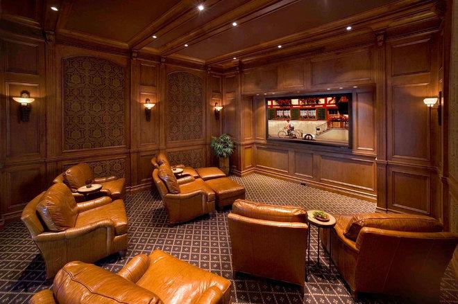 Mediterranean Home Theater by 41 West