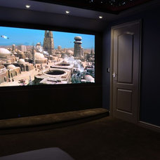 Modern Home Theater View from cinema seating area