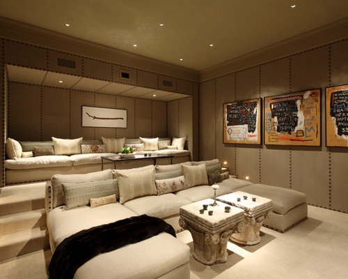 Best Mediterranean Home Theater Design Ideas & Remodel Pictures