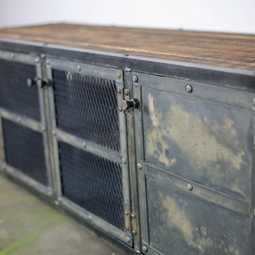 Vintage Industrial Media Console/Credenza. Reclaimed wood top. Urban Modern.