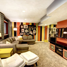 Eclectic Home Theater by Mindi Freng Designs