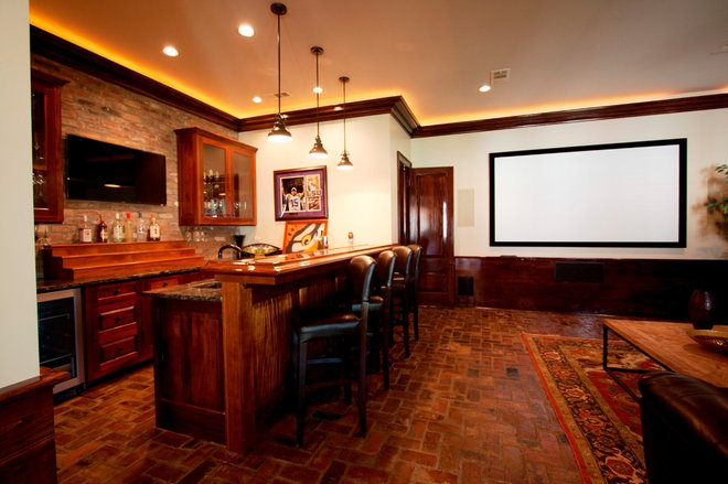 Traditional Home Theater by Northshore Millwork, LLC