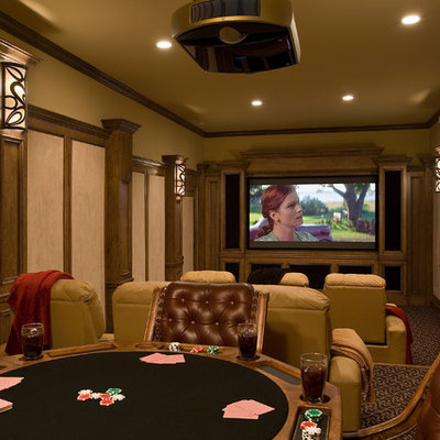 Inspiration for a mid-sized rustic enclosed carpeted and multicolored floor home theater remodel in Other with brown walls and a projector screen