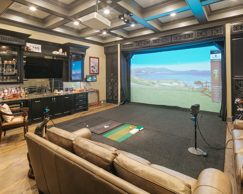 Home Theater   Transitional Light Wood Floor Home Theater Idea In Houston  With Beige Walls And